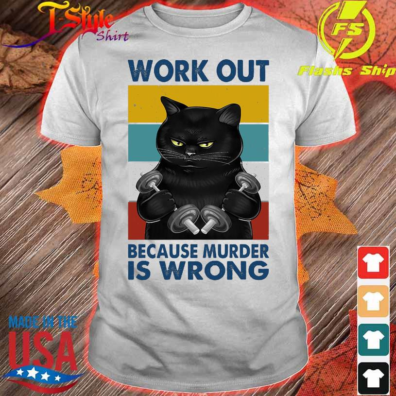 Black Cat Gym work out because murder is wrong vintage shirt