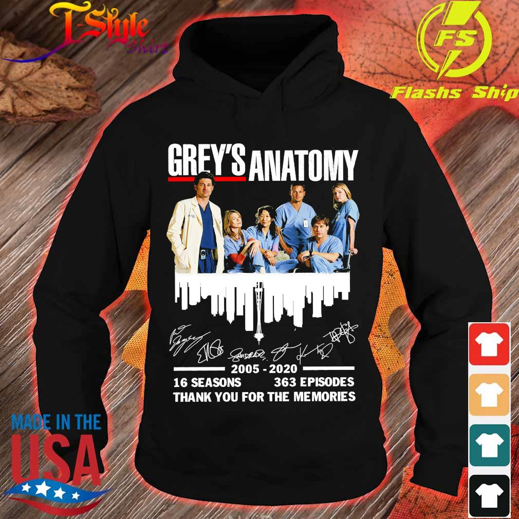 Grey's Anatomy 2025 2020 16 seasons 363 episodes thank You for the memories signatures Shirt hoodie