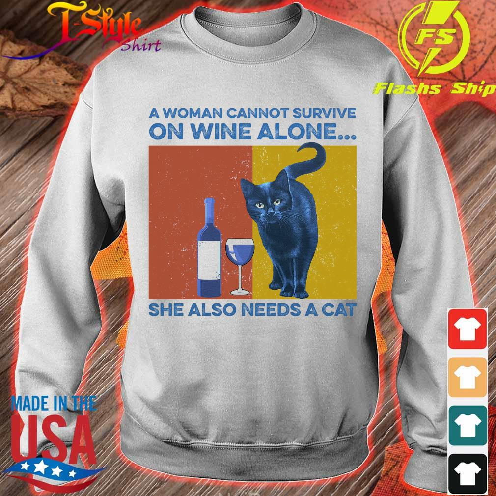 A woman cannot survive on wine alone She also needs a cat vintage s sweater
