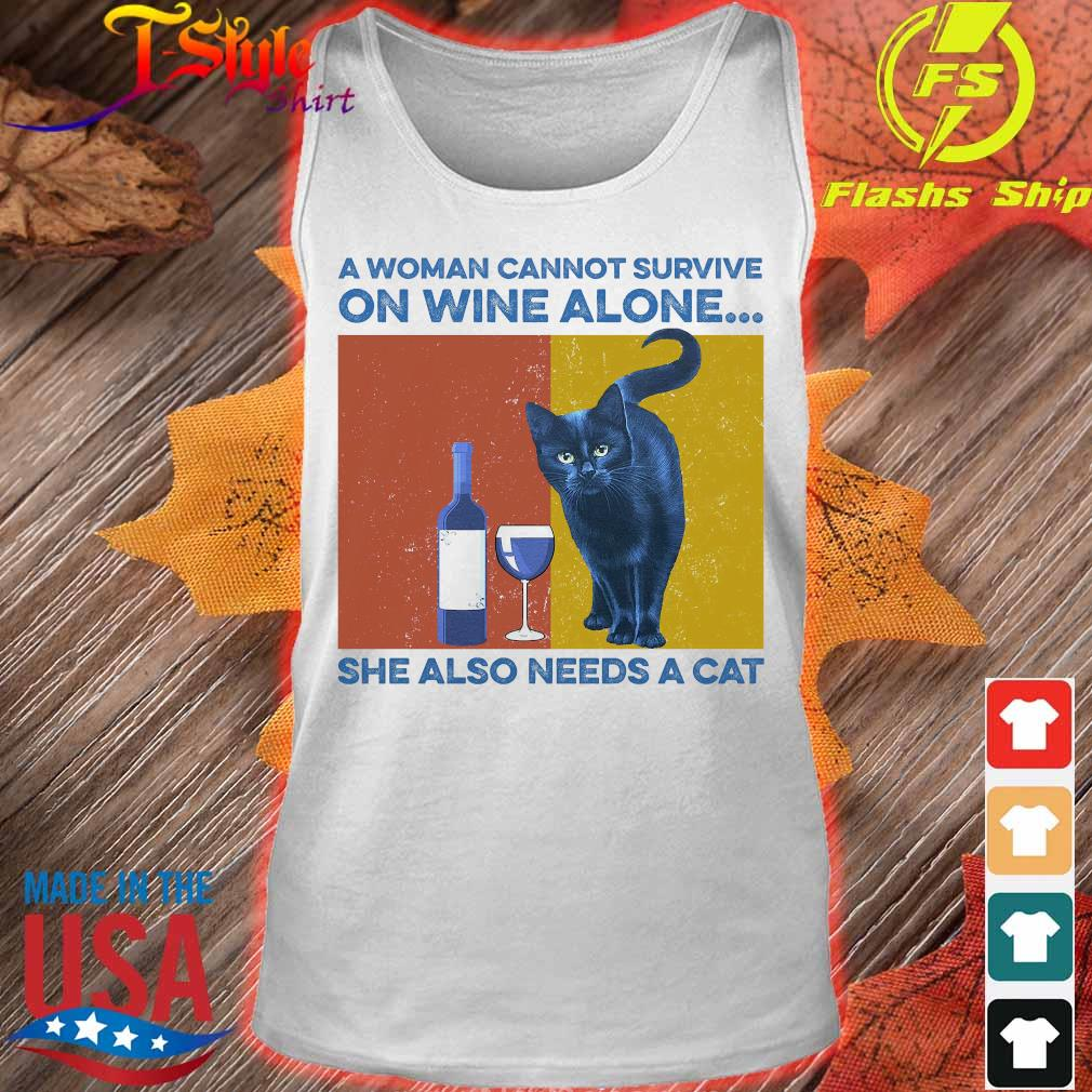 A woman cannot survive on wine alone She also needs a cat vintage s tank top