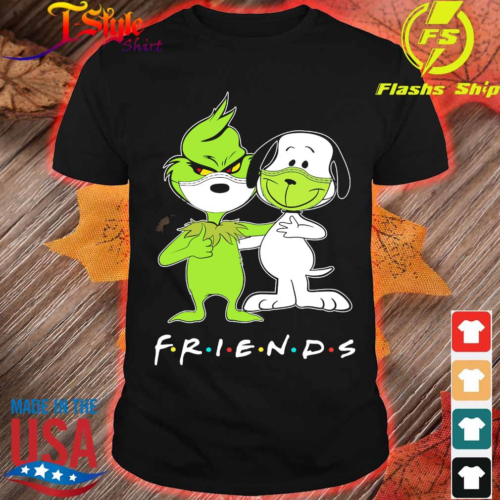 Snoopy and Grinch face mask friends shirt