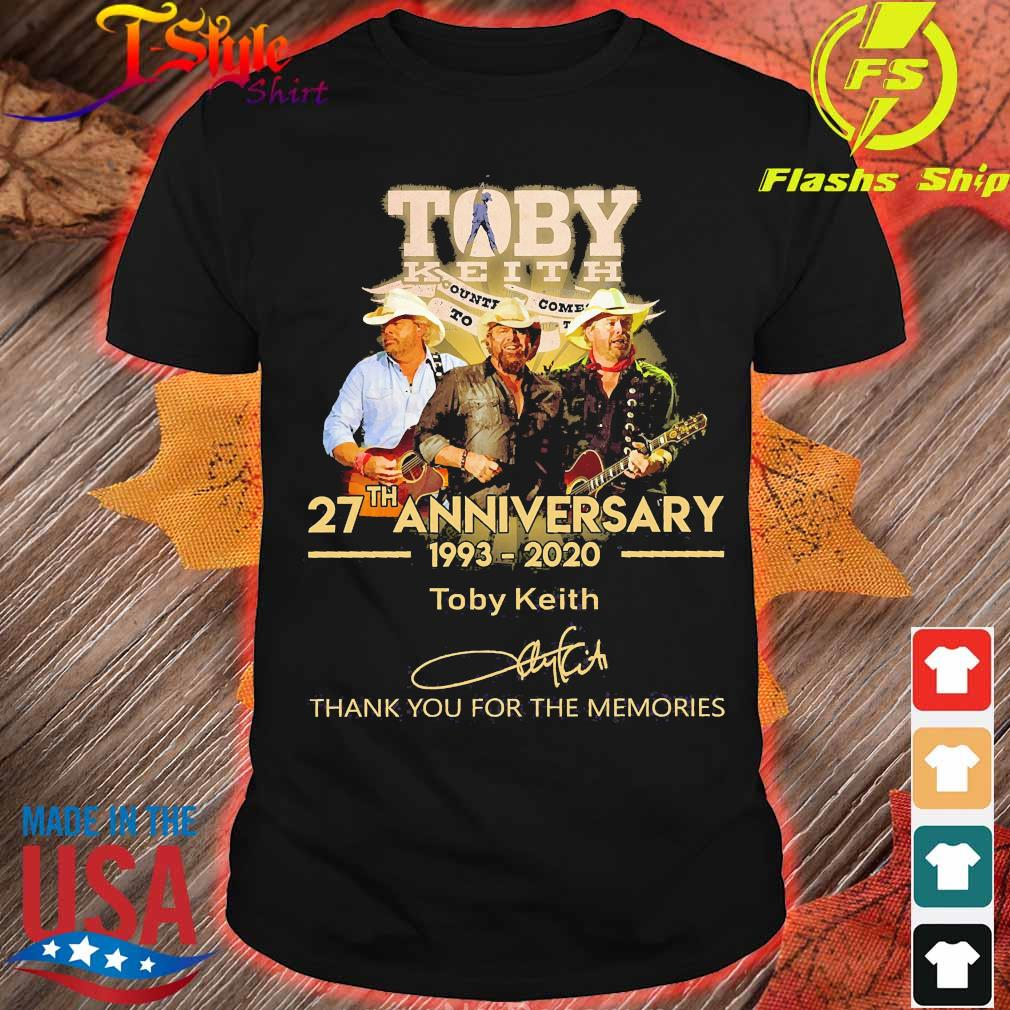 Toby Keith 27th anniversary 1993 2020 thank You for the memories signature shirt