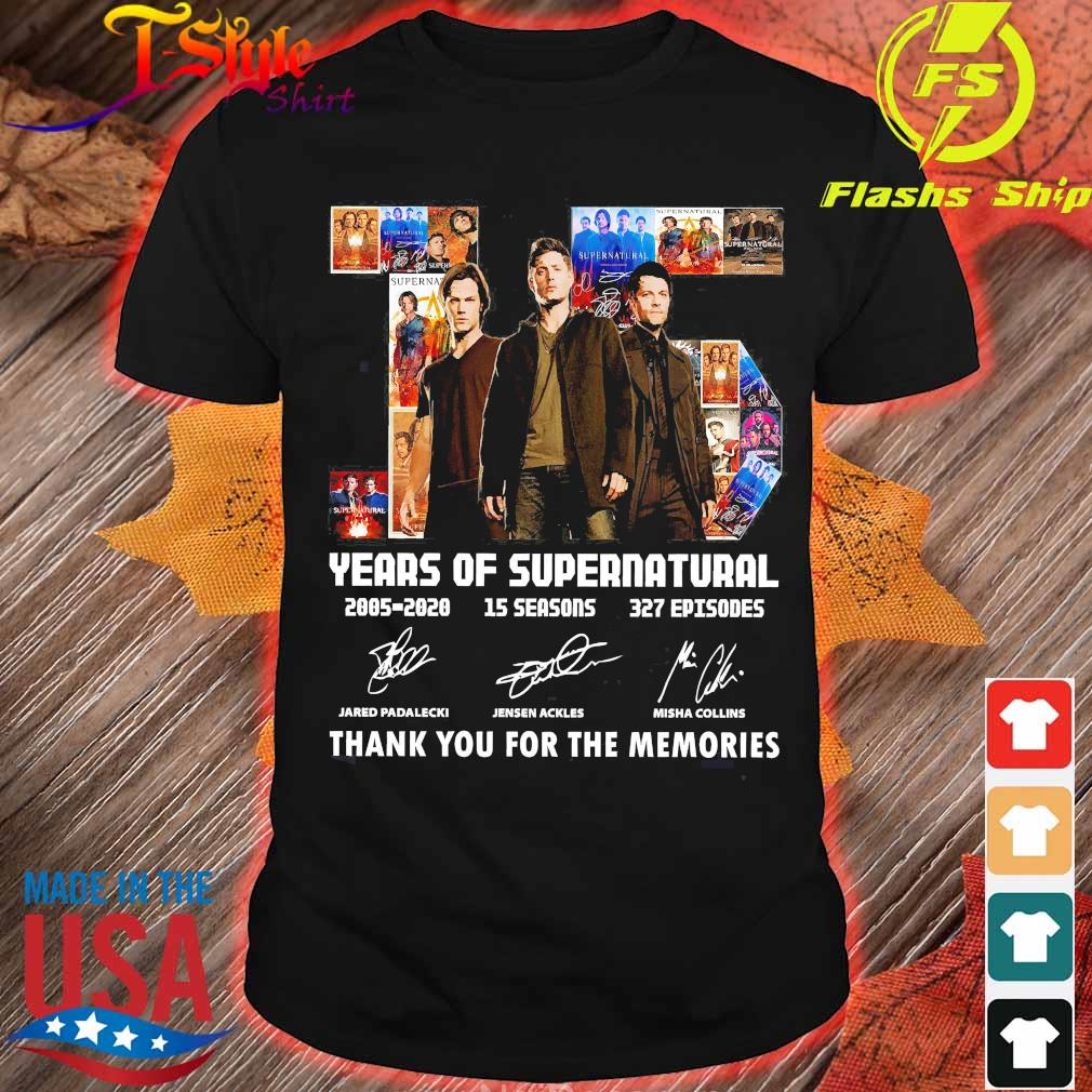 15 years of Supernatural 2005 2020 15 seasons 327 Episodes thank You for the memories signatures shirt