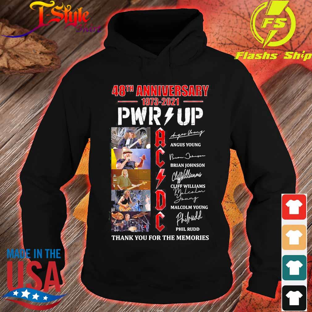 ACDC 48th anniversary 1973 2021 PWR up thank You for the memories signatures s hoodie