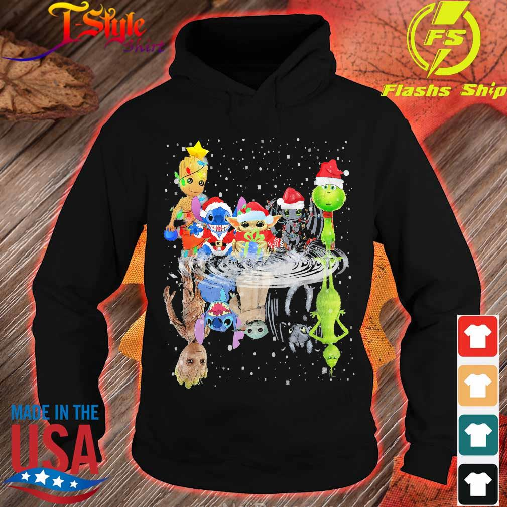 Baby Groot Baby Yoda Stitch Grinch Chibi Characters Water Mirror Reflection Christmas hoodie