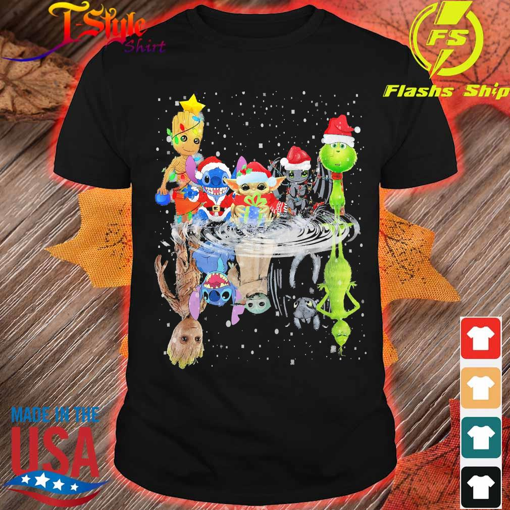 Baby Groot Baby Yoda Stitch Grinch Chibi Characters Water Mirror Reflection Christmas
